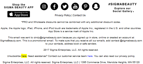 How do I unsubscribe from emails? – Sigma Beauty